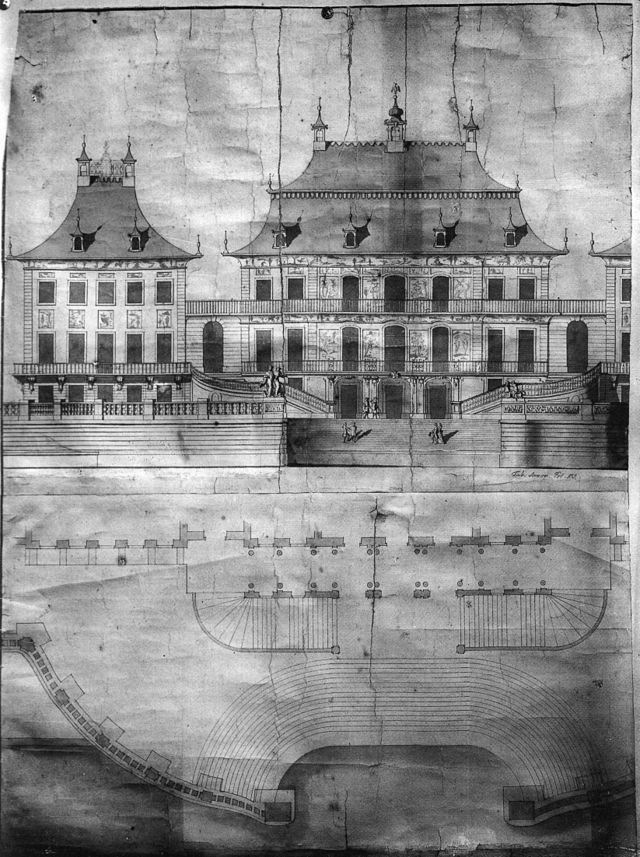 Wasserpalais, Stromseitige Ansicht und Grundriss der Treppenanlage, Federzeichnung von M. D. Pöppelmann, nach 1721