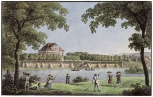 Elbseite Schloss Übigau 1850, Johann Carl August Richter - 5000 Historische Stadtansichten aus Deutschland. The Yorck Project GmbH